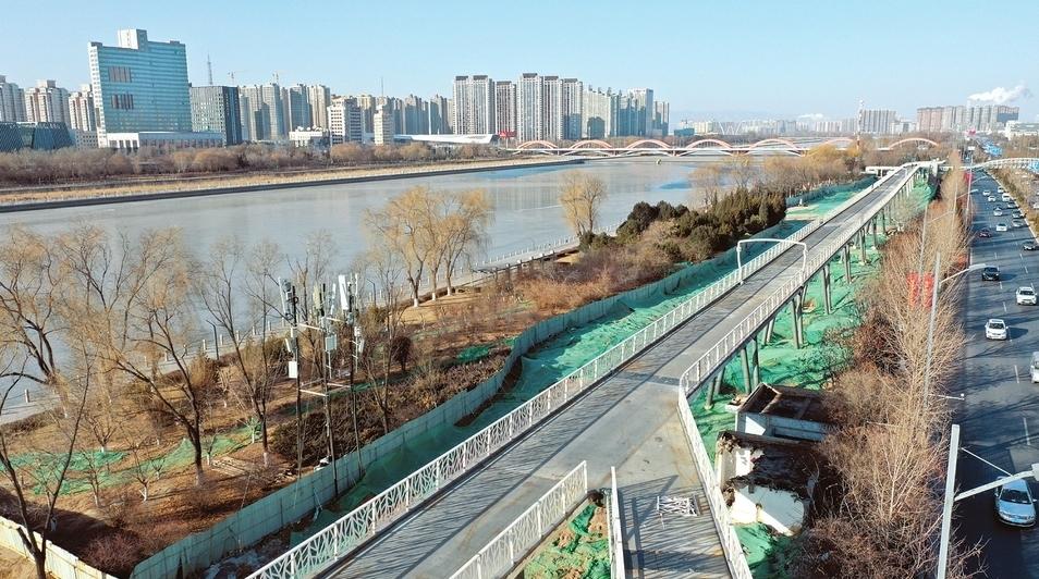 太原汾河景區自行車道主體完工